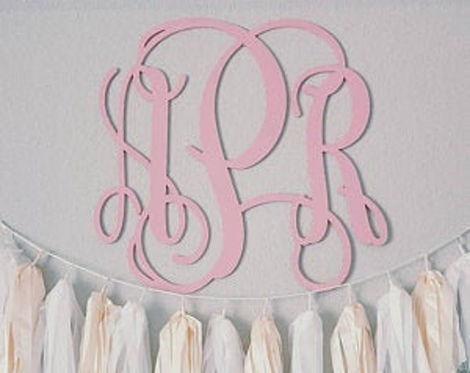 Painted Monogram Wall Hanging - Painted Wooden Monogram - Wooden Initials - Wall Letters - Monogram Decor - Bedroom Wall Hanging