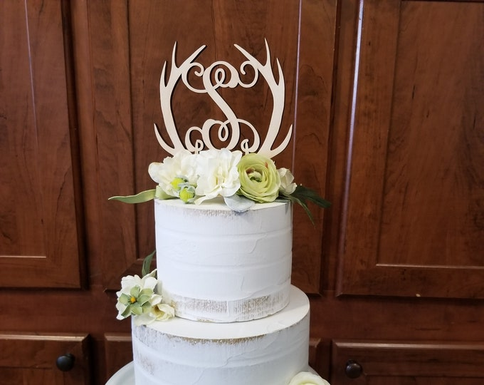 Personalized Antler Cake Topper - Rustic Cake Topper - Wooden Cake Decor - Initial Cake Decor