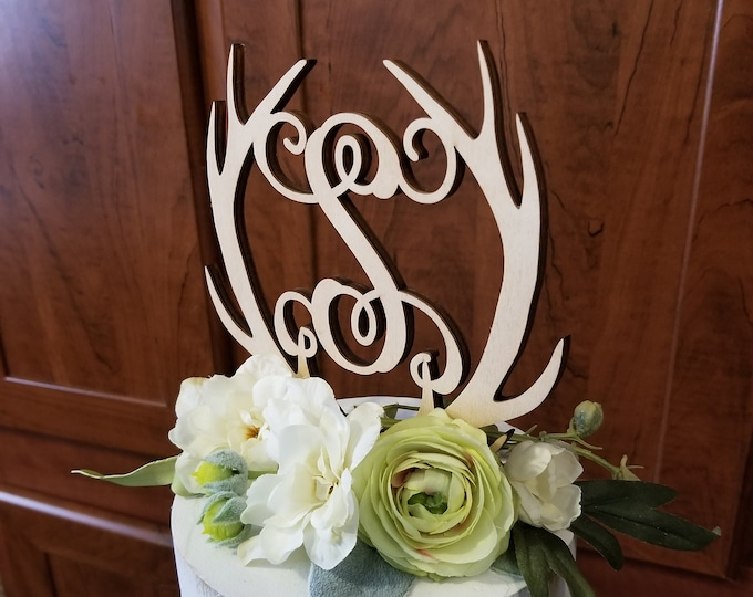 Painted Antler Topper - Cake Topper - Personalized - Gold Antler Cake Topper - Initial Cake Topper