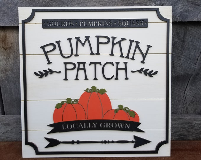 Wooden Pumpkin Patch Sign - Farmhouse Style - Fall Decor - Rustic Shiplap Sign