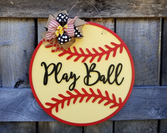 Softball Door Hanger - Baseball Door Hanger - Play Ball Sign - Wooden Softball Sign - Wooden Baseball Sign
