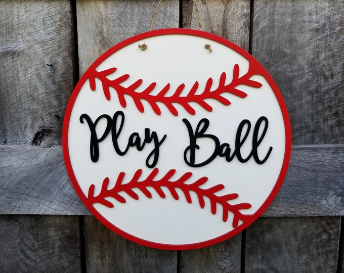 Baseball Door Hanger - Softball Door Hanger - Play Ball Sign - Wooden Baseball Sign - Wooden Softball Sign