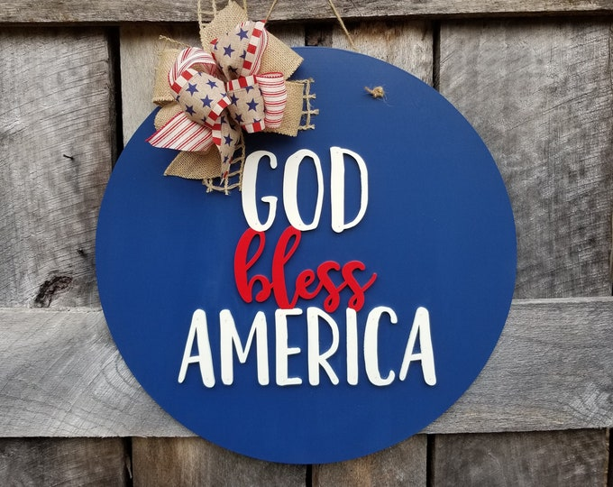 God Bless America Door Hanger - Patriotic Wreath - Red White and Blue Door Decor - 4th of July Front Door Hanger - Independence Day Decor