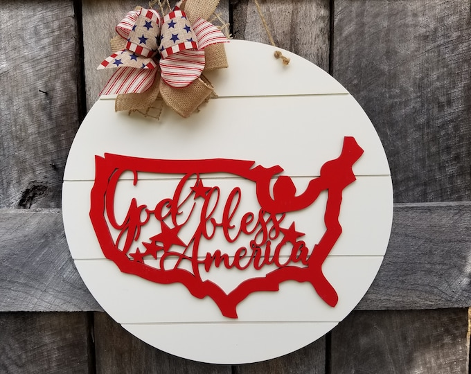 READY TO SHIP!!  God Bless America Door Hanger - 4th of July Door Hanger - Patriotic Sign - Wreath - Front Door Sign - Red White and Blue