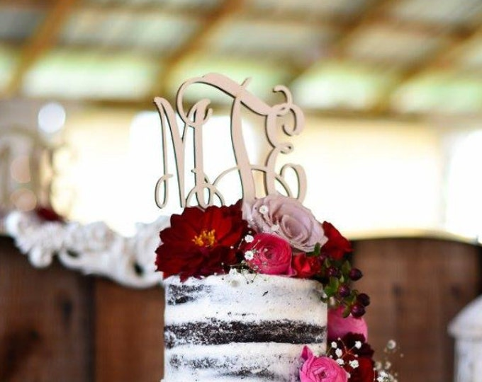 Rustic Wood Cake Topper - Unpainted Wooden Monogram Cake Topper - Wedding Cake Topper - Initial Cake Topper