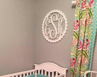 Monogram Wall Hanging - Dorm Room Monogram Wall Decor - Painted Wooden Monogram with Scallop Border - Nursery Monogram