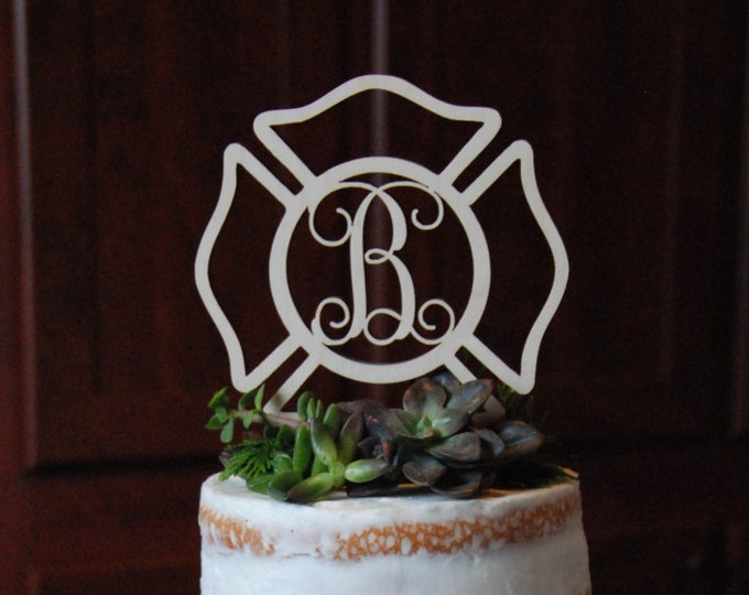 Fireman Cake Topper - Painted Maltese Cross Cake Decor - Fire Fighter - Wedding - Personalized