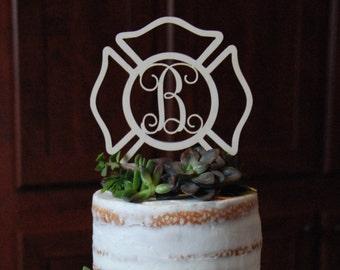 Personalized Cake Topper - Maltese Cross - Fireman - Firefighter - Unpainted Wooden Initial Cake Topper