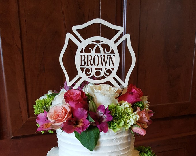 Maltese Cross Cake Decor - Painted Fireman Cake Topper - Fire Fighter - Wedding - Personalized