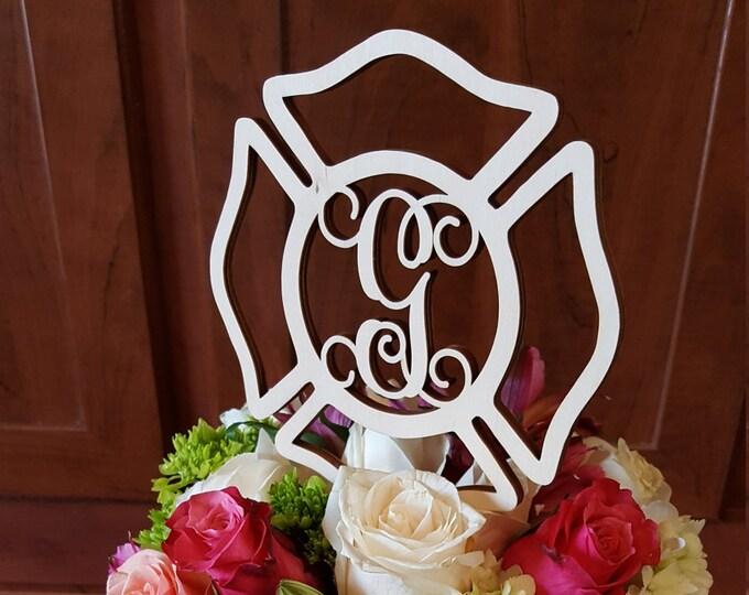 Maltese Cross Cake Topper - Unpainted Fireman Cake Decor - Fire Fighter - Wedding - Personalized