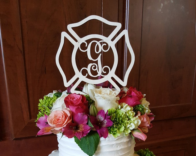 Maltese Cross Cake Topper - Painted Fireman Cake Decor - Fire Fighter - Wedding - Personalized