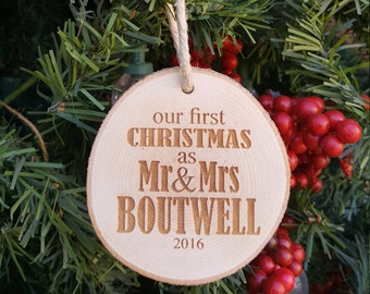 Our First Christmas Ornament - Couple's First Christmas Ornament - Engraved Wood Slice Ornament - Personalized First Christmas Ornament