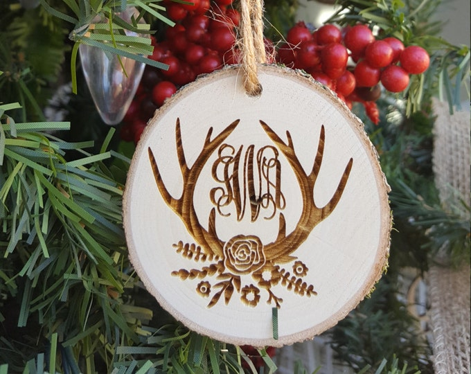 Monogram Ornament- Antler Christmas Ornament - Antler Ornament - Rustic - Wooden Ornament