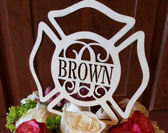 Maltese Cross Cake Topper - Unpainted Fireman Cake Decor - Fire Fighter - Wedding - Personalized - Wooden Cake Topper
