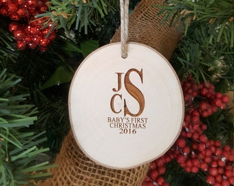 Baby's First Christmas Ornament - Monogram Ornament - Engraved Wood Slice Ornament -