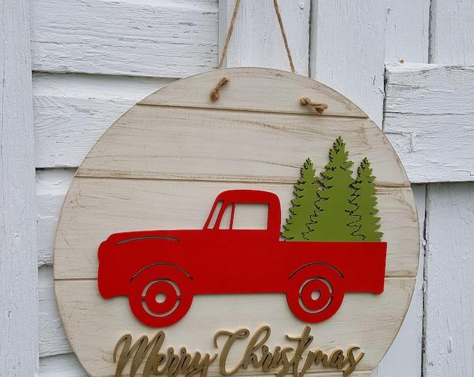 Christmas Decor - Merry Christmas Door Hanger - Retro Truck Christmas Wreath - Vintage Truck Christmas Decor