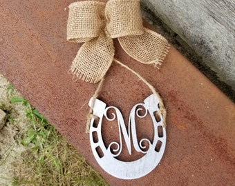 Horseshoe Car Charm - Initial Car Charm - Personalized - Rear View Mirror Charm - Painted - Burlap - Rustic - Horseshoe