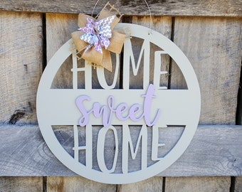 Door Hanger - Home Sweet Home - Wedding Gift - Welcome Sign - Housewarming Gift - Painted Sign - Wooden Sign - Door Hanger