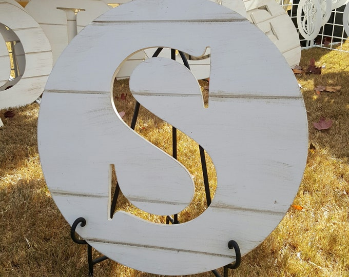 "Wooden Letter Round - Shiplap Look - Farmhouse - 20"" Diameter"