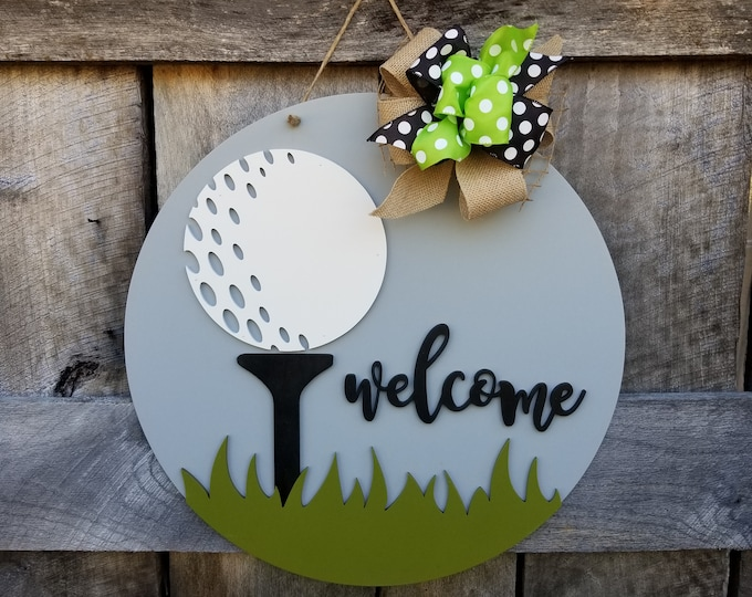 Golf Door Hanger - Golf Wreath - Gift for Dad - Father's Day Gift - Gift for the Golfer - Golf Sign - Wooden Golf Wall Hanging