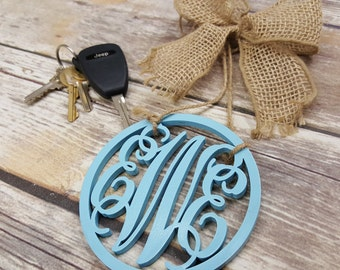 "Car Charm - Car Monogram - Rear View Mirror Monogram - 4.5"" Painted Monogram with Burlap Bow"