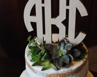 Circle Monogram Cake Topper - Unpainted Wooden Cake Topper - Wedding Cake Topper - Initial Cake Topper