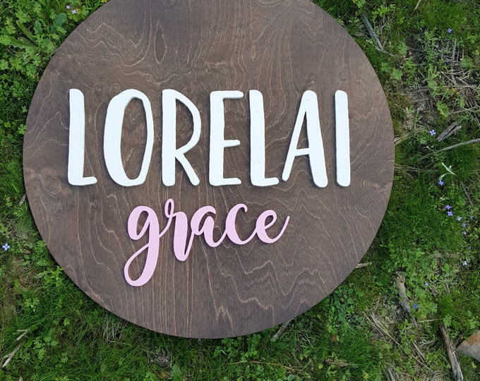 Wooden Name Round - Nursery Name Sign - Personalized Nursery Sign - Wall Art - Bedroom Wall Sign - Kids Name Sign