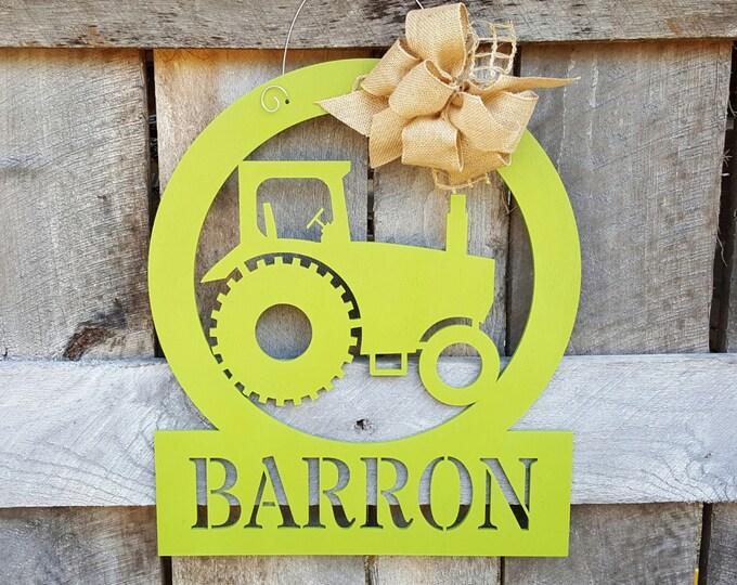 Tractor Door Hanger - Painted Farming Door Decor - Tractor Wall Hanging - Wedding Gift - Housewarming Gift - Personalized Gift