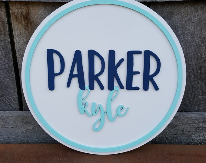 Wooden Name Round - Name Sign - Kids Name Sign - Wall Art - Personalized Name Sign - Wood Name Sign