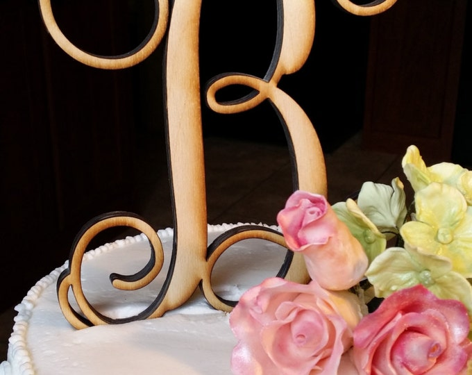 Wooden Initial Cake Topper - Unpainted Vine Script Initial Cake Topper - Wedding Cake Topper