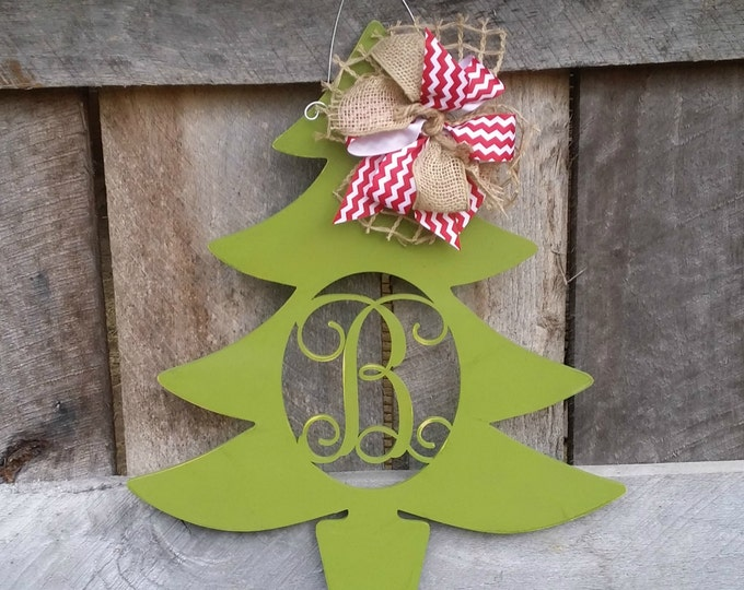 Personalized Christmas Tree Door Hanger - Distressed Initial Christmas Wreath - Winter Door Decor - Personalized Wreath
