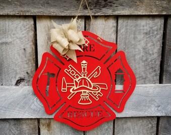 Fire Rescue - Door Hanger - Fire Fighter - Fireman - Wooden Door Hanger - Door Decor - Fire Station - Gift