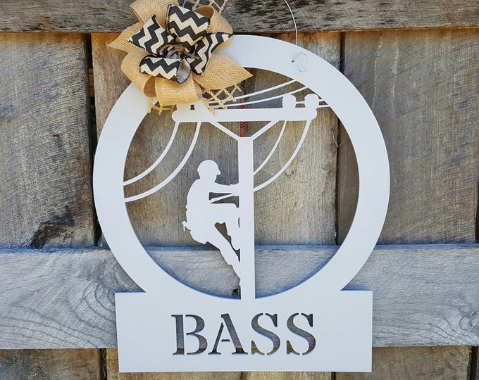 Lineman Wooden Sign - Lineman Door Hanger - Lineman Gift - Wedding Gift - Housewarming Gift - Personalized Gift