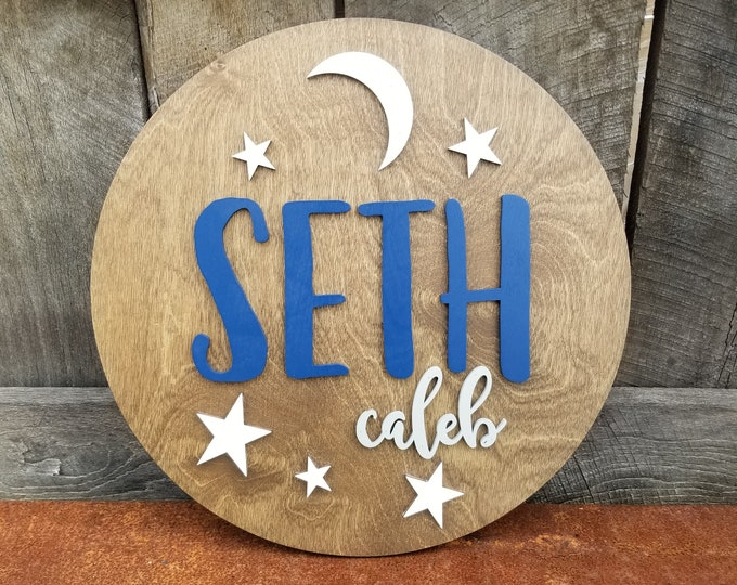 Nursery Name Sign - Moon and Stars Name Round - 3D Wooden Name Sign - Round Name Sign - Nursery Name Plaque