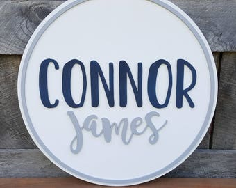 Name Round - Wooden Name Sign - Round Name Sign - Nursery Name Plaque