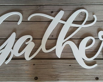 Gather - Wooden Word - Painted Word Wall Hanging