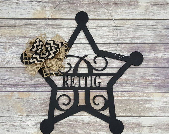 Personalized Sheriff Door Hanger - Badge Wreath - Law Enforcement Door Hanger - Wedding Gift - Housewarming Gift - Personalized Gift
