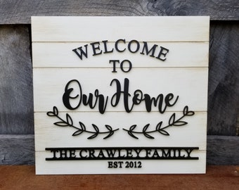 Welcome To Our Home - Family Name Sign - Established Sign - Wooden Shiplap Sign - Farmhouse Sign - Welcome Plaque - Wedding Gift