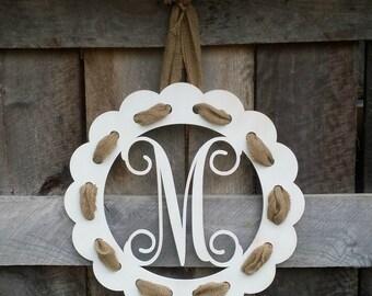 Painted Initial Door Hanger With Burlap Ribbon - Distressed Personalized Door Hanger - Wall Hanging - Housewarming Gift - Wedding Gift