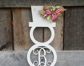 Snowman Door Hanger - Distressed Initial Snowman Wreath - Winter Door Decor - Personalized Wreath