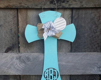 Monogram Hospital Door Hanger - Nursery Wall Hanging - Baby Door Hanger - Baby Shower Gift - Monogram Cross Door Hanger