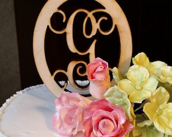 Initial with Oval Border Cake Topper - Monogram Wooden Cake Topper - Personalized Wedding Cake Topper