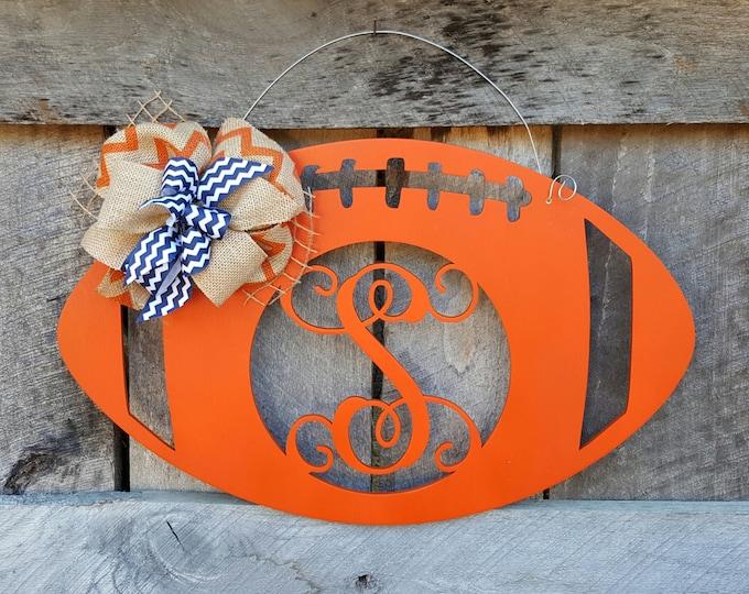 Football Door Hanger - Personalized Football Wreath - Auburn - Fall Door Hanger
