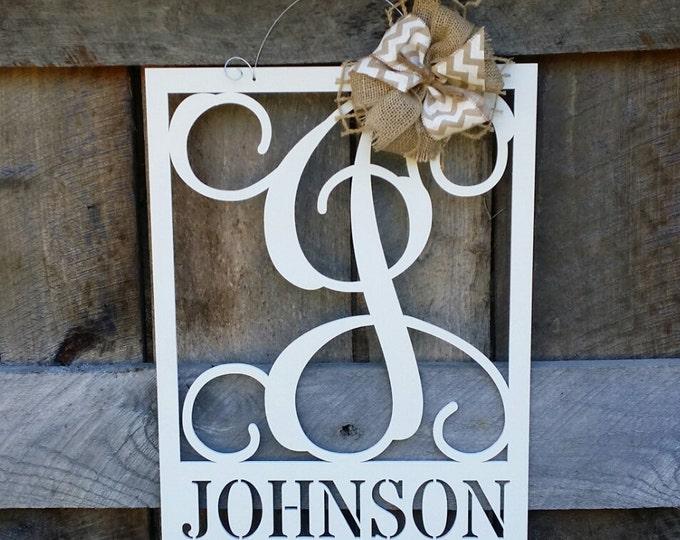"20"" Wooden Monogram Door Hanger - Family Monogram - Wedding Gift - Housewarming Gift - Personalized Gift - Personalized Door Hanger"