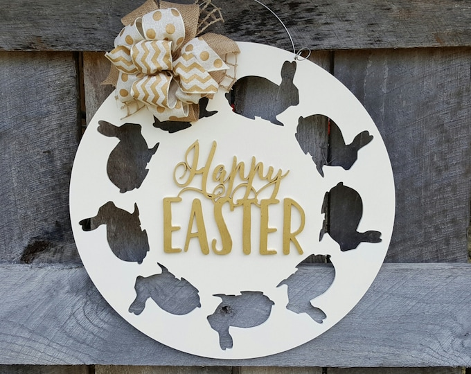 Happy Easter Door Hanger - Easter Bunny Wreath - Easter Wall Hanging - Spring Door Hanger - Easter Wreath