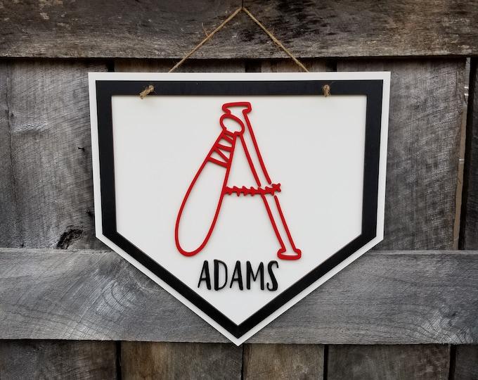 Baseball Door Hanger - Baseball Name Sign - Personalized Sports Decor