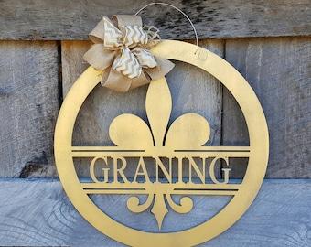 "Fleur-de-lis Door Hanger - Fleur- de-lis Wreath - Saints - Louisiana - New Orleans - Wall Hanging - Personalized Gift - 22"" Diameter"