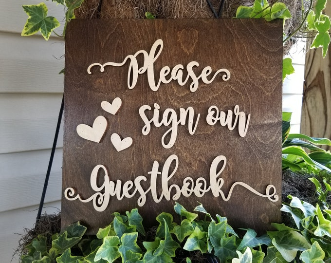 Wooden Wedding Sign - Please Sign Our Guestbook - Wedding Sign - Wooden Guestbook Sign - Wedding Decor