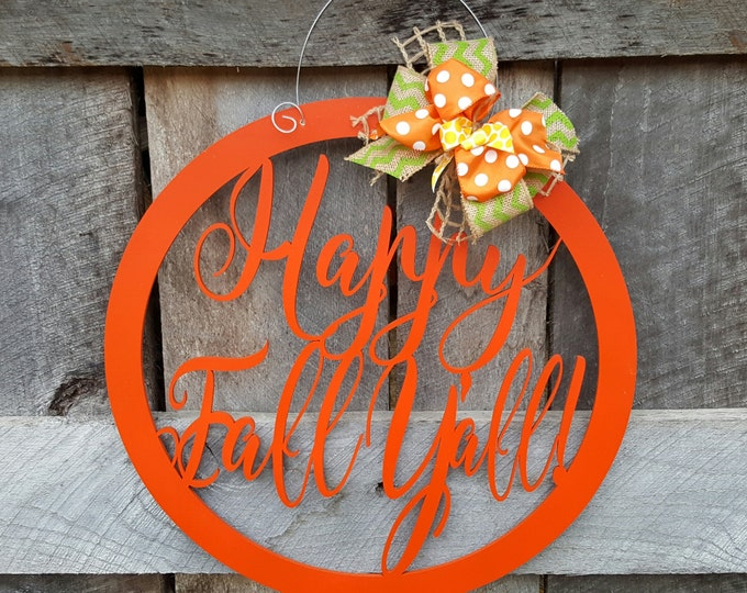 Happy Fall Y'all Door Hanger - Fall Wreath - Autumn Door Decor