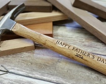 Father's Day Gift - Gift For Dad - Engraved Wooden Handled Hammer - Personalized Hammer - Happy Father's Day Hammer